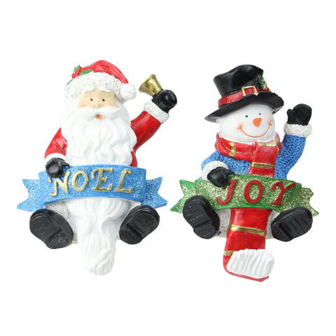 Set of 2 Santa and Snowman Glittered Christmas Stocking Holders 6.25""