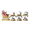 Set of 4 Gold and Red Santa with Reindeer Christmas Stocking Holders 9.5""