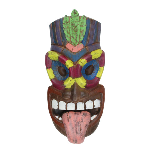 "16.5"" Tiki Man Sticking Out Tongue Hanging Wall Decor"