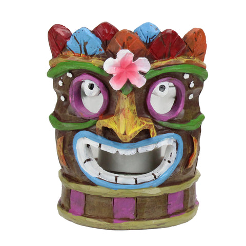 "4.5"" Smiling Tiki Mask with Colorful Leaves Candle Holder"