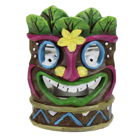 "4.5"" Smiling Tiki Mask with Yellow Flower Candle Holder"