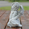 "9.5"" Heavenly Gardens Gray Sitting Cherub Angel Outdoor Patio Garden Statue"
