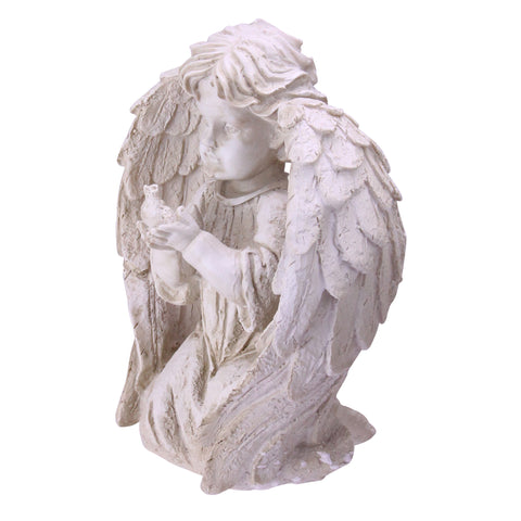 "10"" Ivory Kneeling Cherub Angel with Dove Outdoor Patio Garden Statue"