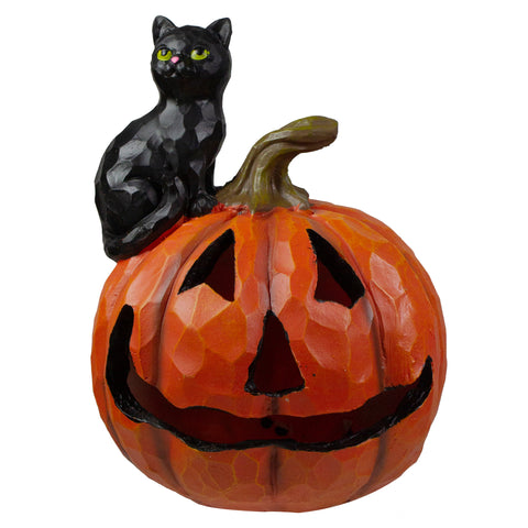 "10"" Jack-O-Lantern and Black Cat Tabletop Halloween Decoration"