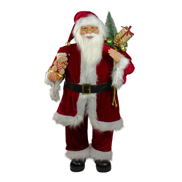 "36"" Traditional Standing Santa Claus Christmas Figure with Teddy Bear and Gift Bag"