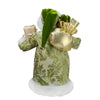 "12"" Green and White Santa Claus Christmas Figure with Teddy Bear"