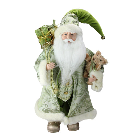 "16"" St. Patrick's Irish Standing Santa Claus Christmas Figure with Teddy Bear and Gift Bag"