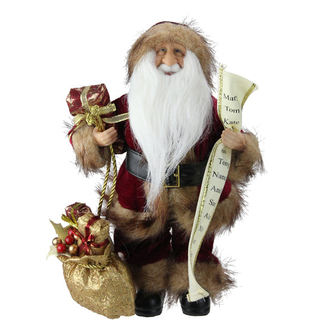 "12"" Woodland Standing Santa Claus Christmas Figure with Name List and Gift Bag"