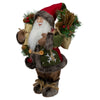 "12"" Brown and Red Standing Santa Claus Figurine with Snowflake Jacket"