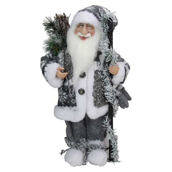 "16"" Gray and White Standing Santa Claus Christmas Figurine"