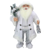 "24"" White Frost Standing Santa Claus Christmas Figurine with Lantern"
