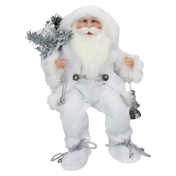 "16"" White Frost Sitting Santa Claus Christmas Figure with Lantern"