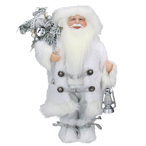 "12"" Elegant White Frost Standing Santa Claus Christmas Figure with Lantern"