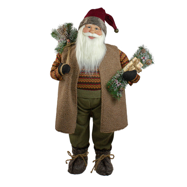 "36"" Brown Standing Santa Claus Christmas Figurine"
