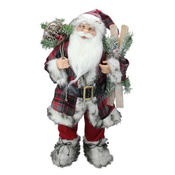 "24"" Alpine Standing Santa Claus with Frosted Pine, Furry Boots and Skis Christmas Figure"