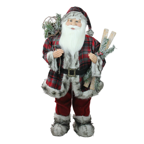 "36"" Red and White Standing Santa Claus Christmas Figurine with Frosted Pine"