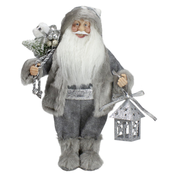 "12"" Gray and White Standing Santa Claus Christmas Figurine with Bag and Lantern"