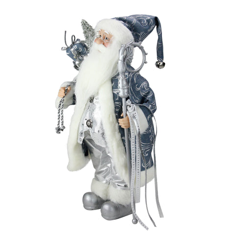 "16"" Ice Palace Standing Santa Claus in Blue and Silver Holding A Staff and Bag Christmas Figure"