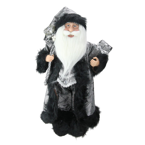 "16"" Standing Santa Claus in Silver and Black with Gifts Christmas Figure"