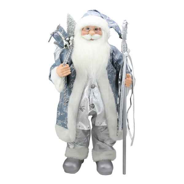 "25"" Standing Santa Claus in Blue and Silver Holding A Staff Christmas Figure"