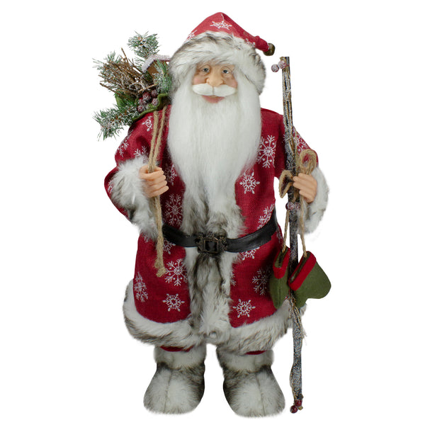 "24.5"" Snowflake Santa Claus Christmas Figure with Holly Berries"