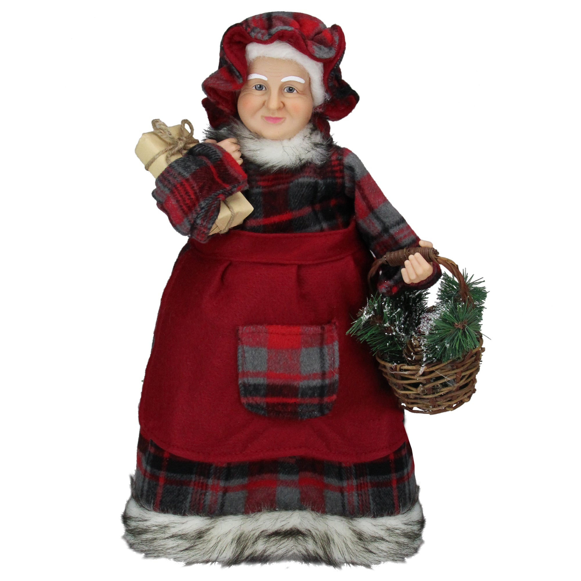 """16"""" Red Mrs Claus in Plaid Dress Holding a Basket and Gift Christmas Figure"""