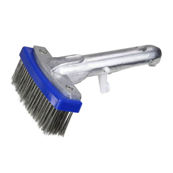 "5.5"" Blue and Gray Stainless Steel Algae Swimming Pool Brush with Handle"