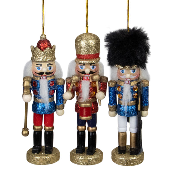 Set of 3 Glittery Assorted Classic Nutcracker Ornaments 5""