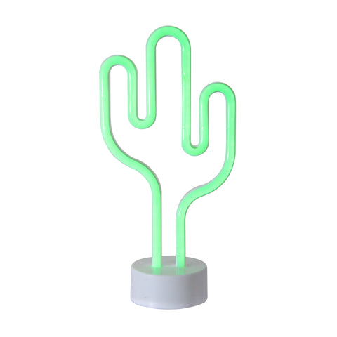 "11.5"" Battery Operated Neon Style LED Green Cactus Table Light"