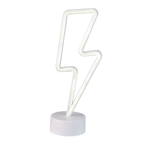 "11.5"" White Battery Operated Neon Style LED Lightening Bolt Table Light"