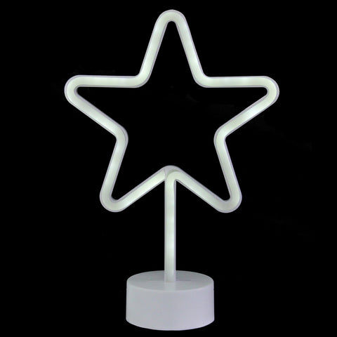 "11.5"" White Neon LED Star Contemporary Table Light"