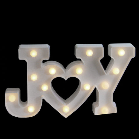 "12.75"" Battery Operated LED Lighted ""JOY"" Christmas Marquee Sign"