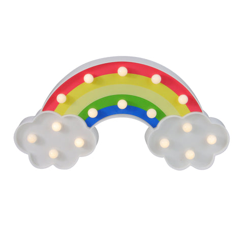 "10"" Battery Operated LED Lighted Rainbow with Clouds Marquee Sign"
