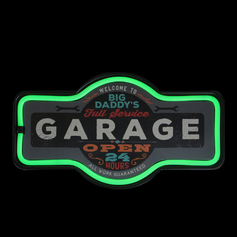 "17.25"" Battery Operated USB Neon Style LED Lighted Daddy's Garage Wall Sign"
