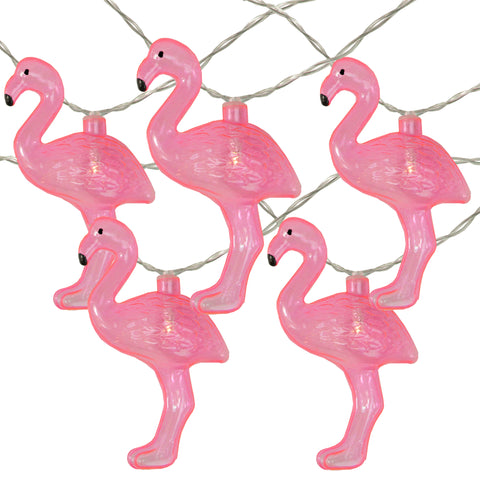 10 Pink LED Battery Operated Flamingo Summer String Lights - 4.5 ft Clear Wire