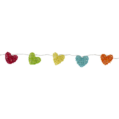 10 Red and Green Battery Operated Valentines Day Heart LED String Lights - 4.5 ft Clear Wire