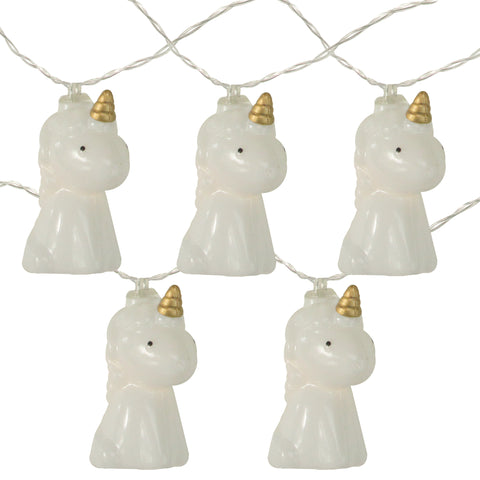 10 Battery Operated White Unicorn Summer LED String Lights - 4.5 ft Clear Wire
