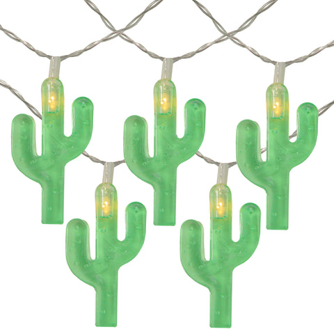 10 Battery Operated Green Cactus LED Summer String Lights - 4.5 ft Clear Wire