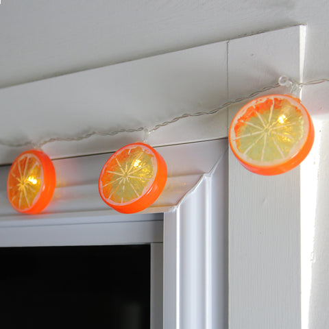 10 Battery Operated Orange Slice Summer LED String Lights - 4.5 ft Clear Wire