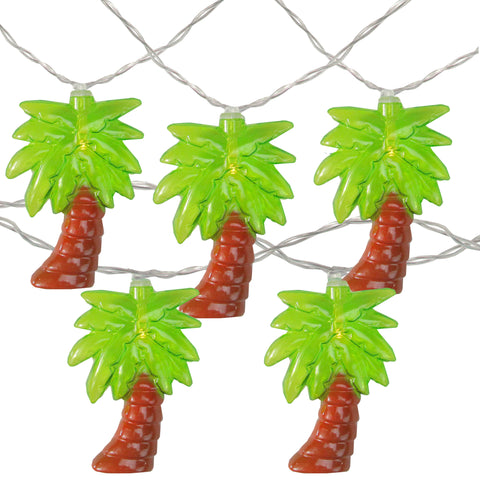 10 Warm Clear LED Battery Operated Palm Tree Summer String Lights - 4.5 ft Clear Wire