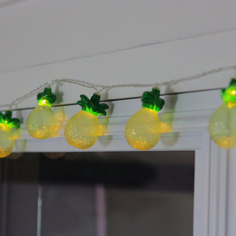 10 Battery Operated Tropical Pineapple Summer LED String Lights - 4.5 ft Clear Wire