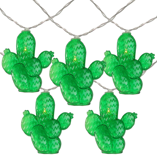 Pack of 10 Prickly Pear Cactus Summer LED String Lights - Battery Operated 4.5' Clear Wire