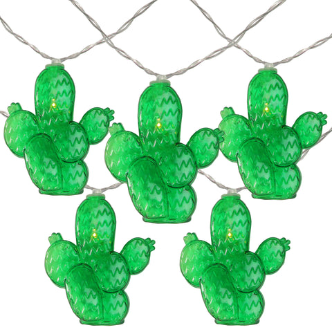 10 Battery Operated Prickly Pear Cactus Summer LED String Lights - 4.5ft Clear Wire