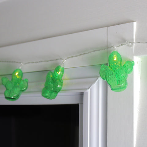 10 Battery Operated Green Prickly Pear Cactus LED Summer String Lights - 4.5 ft Clear Wire