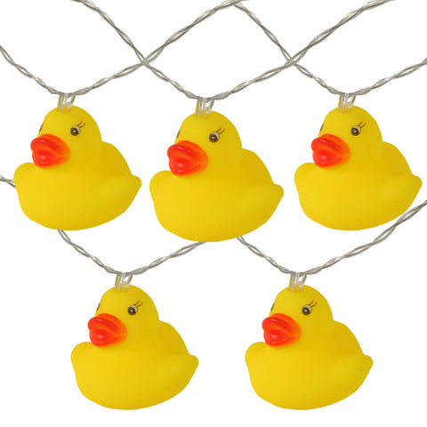 10 Battery Operated Yellow Ducky LED Summer String Lights - 4.5 ft Clear Wire
