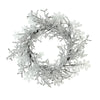 Clear Ice and Snowflakes on Black Twigs Artificial Christmas Wreath, 22-Inch - Unlit