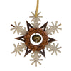 "6"" Brown and White Wooden Snowflake Christmas Ornament"