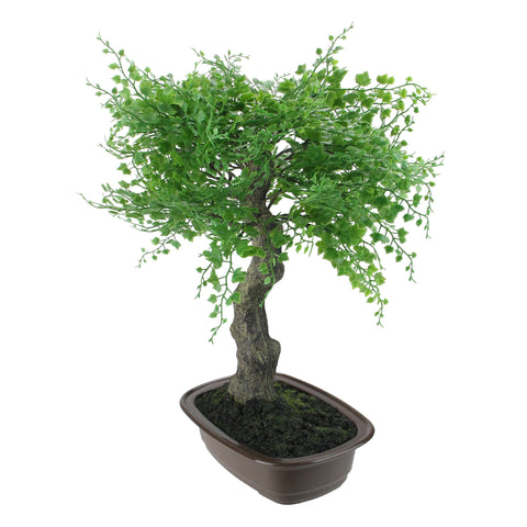 "16"" Green Mini Maple Artificial Bonsai Tree in a Brown Pot"