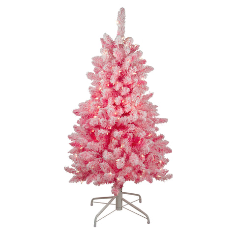 "4' x 29"" Pink Pre-Lit Flocked Artificial Christmas Tree - Clear Lights"