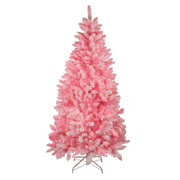 7' Pre-Lit Medium Flocked Artificial Christmas Tree - Clear Lights